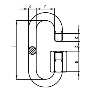 Kettenschnellverschluss Gr. 10 Innen-H.70mm Öffnungs-W. 12,0mm ZN