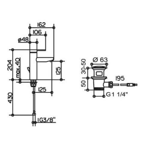 """Keuco Einhebel-Waschtischmischer 130 PLAN BLUE mit Zugstangen-Ablaufgarnitur 1 1/4"""" verchromt"""