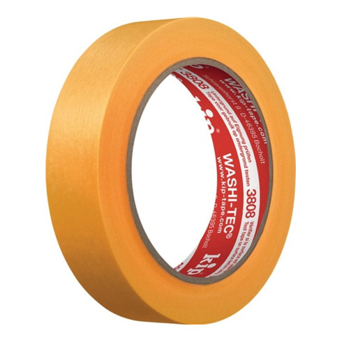 Kip Abdeckband 3808 WASHI-TEC® Premium glatt gelb L.50m B.25mm Rl.