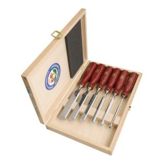 Kirschen Stechbeitelsatz mit Plastikheft rot im Holzkasten 6-10-12-16-20-26 mm
