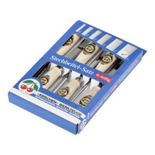 Kirschen Stechbeitelsatz mit Weißbuchenheft im SB-Karton 6-10-12 -16-20-26 mm