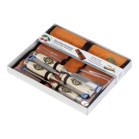 Kirschen Stechbeitelsatz mit Weißbuchenheft in Lederrolltasche 10-16-20-26 mm