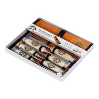 Kirschen Stechbeitelsatz Weißbuchenheft in Lederrolltasche 6-10-12-16-20-26mm