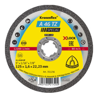 Klingspor A 46 TZ Trennscheiben X-LOCK, 125 x 1,6 x 22,23 mm gerade