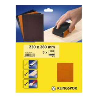 Klingspor Bogen / Streifen SB-Verpackt PL 31 B, LxB 230X280, Korn 80