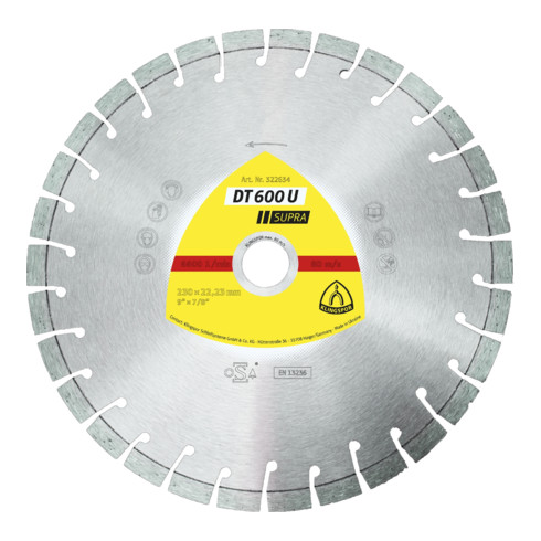 Klingspor DT 600 U Diamanttrennscheiben, 230 x 2,6 x 22,23 mm 30 Segmente 20 x 2,6 x 9 mm, Kurzverzahnung
