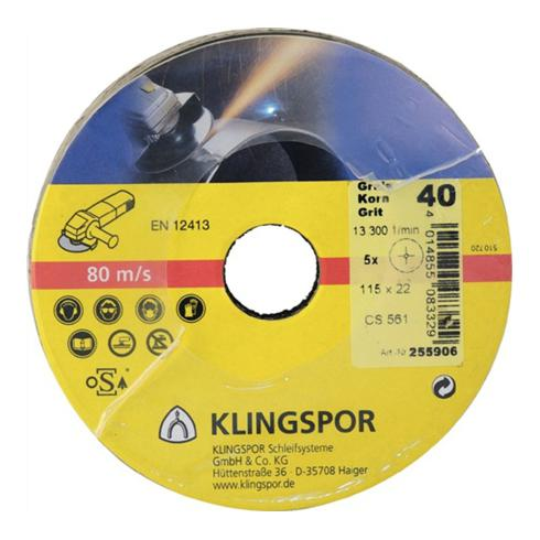 Klingspor Fiberscheibe CS 561, LxB 115X22