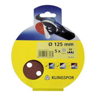 Klingspor Scheibe / kletthaftend SB-Verpackt PS 22 K, L 125, Korn 60