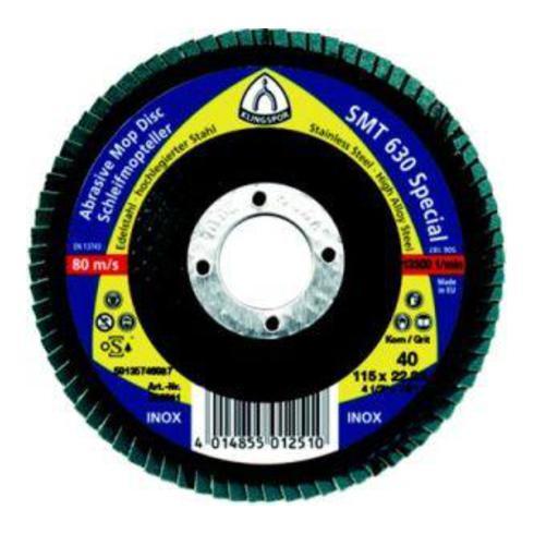Klingspor Schleifmopteller SMT 636 Multibindung 115 x 22,23 mm Korn 60 gewölbt