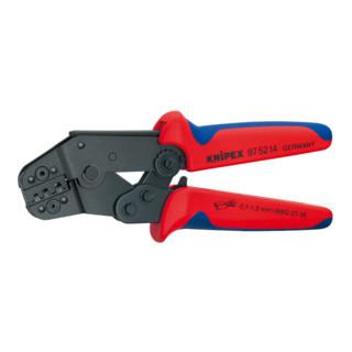 Knipex Crimpzange kurze Bauform brüniert mit Mehrkomponenten-Hüllen 195mm für unisolierte offene Steckverbinder
