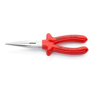 Knipex Flachrundzange (Storchschnabelzange) verchromt tauchisoliert 200mm VDE-geprüft