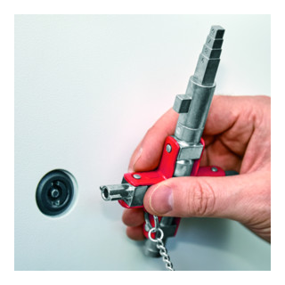Knipex Universal-Schlüssel ''Bau'' für gängige Schränke und Absperrsysteme 90 mm