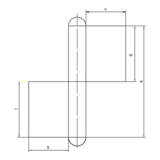 Konstruktionsband KO 4 z.Anschweißen Bandlänge 160mm Lappenbreite 50mm STA blk