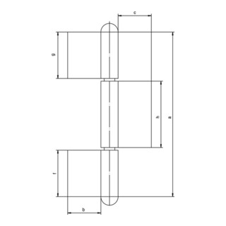 Konstruktionsband KO 8 z.Anschweißen Bandlänge 220mm Lappenbreite 50mm STA blk