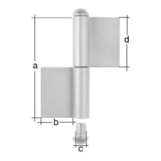 Konstruktionsband Typ K04 2-tlg.z.Anschweißen EdelstahlRundkopf 80/30/9/40mm GAH