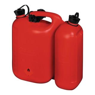 Kraftstoff-Doppelkanister Inh. 5,5+3,0 l L.316xB.145xH.312mm rot