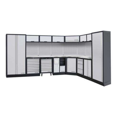 Kraftwerk 8-Element-Schrankwand mit Vierkantlochwand Länge 3819 mm 2824 mm Inox Arbeitsplatte