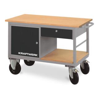 Kraftwerk Werkstattwagen mit 1 Schubladenbox, 1 Schublade und 1 Ablageboden, 835x1300x600 mm, 83 KG