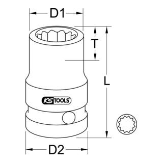 KS Tools 1/2'' 12-kant-Kraft-Stecknuss, kurz