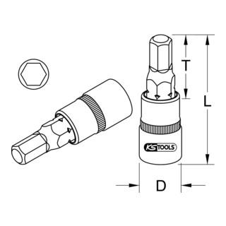KS Tools 1/2'' Bit-Stecknuss Innensechskant, kurz (mm)