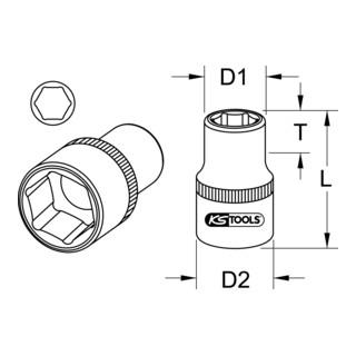 KS Tools 1/2'' CHROMEplus 6kant-Stecknuss (Zoll)