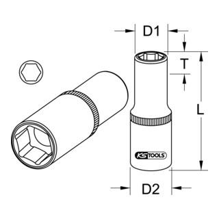 KS Tools 1/2'' CHROMEplus Sechskant-Stecknuss, lang (Zoll)
