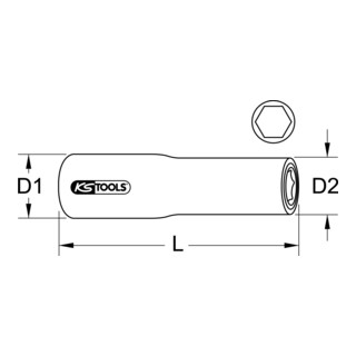 KS Tools 1/2'' Isolierte Stecknuss, lang