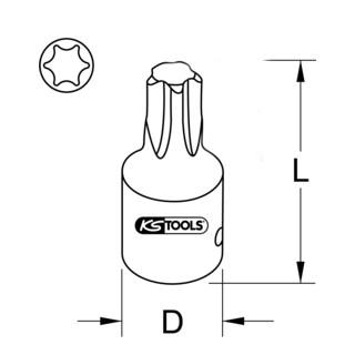KS Tools 1/2'' Kraft-Bit-Stecknuss TX, kurz