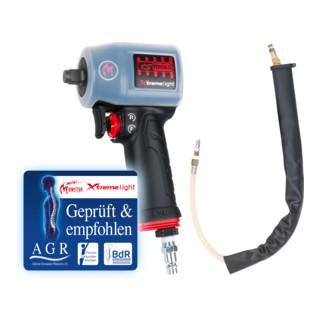 KS Tools 1/2'' miniMONSTER Xtremelight Hochleistungs-Druckluft-Schlagschrauber 1.390 Nm mit Schutzhülle und Geräusch-Reduzier-Schlauch