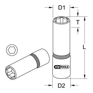 KS Tools 1/4'' CHROMEplus Sechskant-Stecknuss, lang