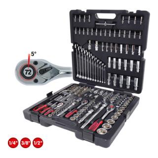 KS Tools 1/4''+3/8''+1/2'' CHROMEplus Steckschlüssel-Satz, 216-tlg.