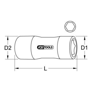 "KS Tools 1/4"" Stecknuss mit Schutzisolierung, 10mm, lang"