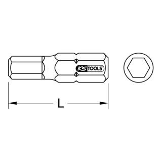 """KS Tools 1/4"""" TORSIONpower Bit Innen6kant, 25mm, 8mm"""