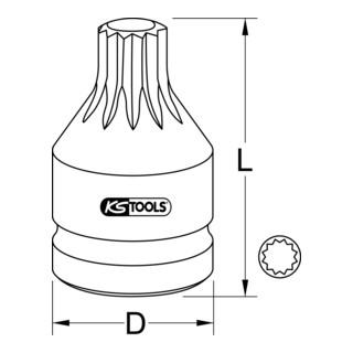 KS Tools 3/4'' Kraft-Bit-Stecknuss Vielzahn mit Bohrung, kurz