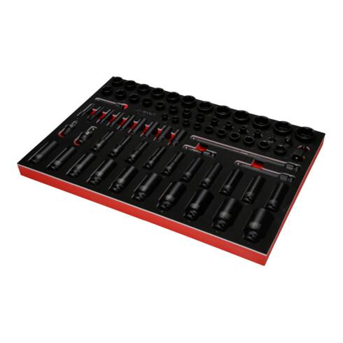 """KS Tools 3/8"""" + 1/2"""" Kraft-Steckschlüssel-Satz in Schaumstoffeinlage, 73-tlg"""