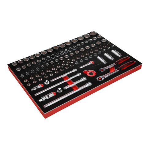 """KS Tools 3/8"""" + 1/2"""" Steckschlüssel-Satz in Schaumstoffeinlage, 101-tlg"""