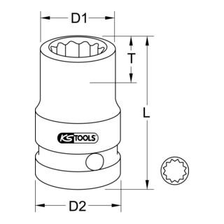 KS Tools 3/8'' 12-kant-Kraft-Stecknuss, kurz