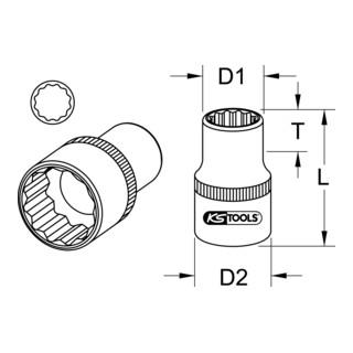 KS Tools 3/8'' CHROMEplus 12-kant-Stecknuss (Zoll)