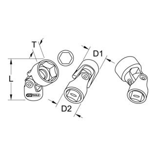 KS Tools 3/8'' CHROMEplus Sechskant-Stecknuss mit Gelenk