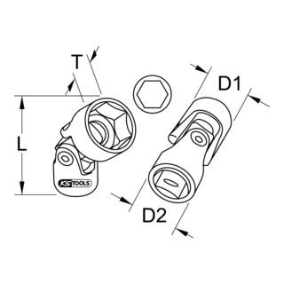 KS Tools 3/8'' CLASSIC Sechskant-Stecknuss mit Gelenk