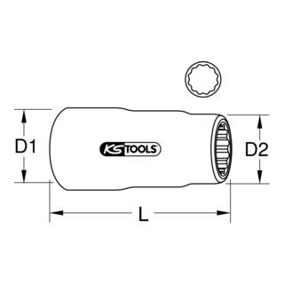 KS Tools 3/8'' Isolierte Stecknuss, lang