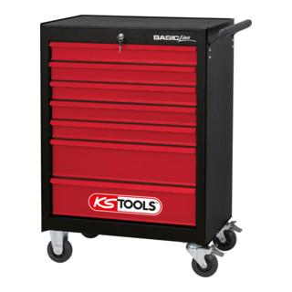 KS Tools BASICline Werkstattwagen, mit 7 Schubladen, schwarz/rot