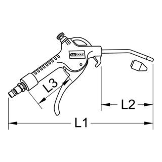 KS Tools Druckluft-Ausblaspistole mit Durchflussregulierung