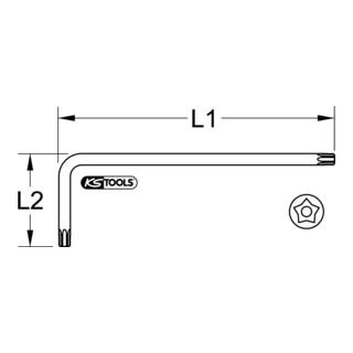 KS Tools Fünfstern-Winkelstiftschlüssel, Bohrung, lang, TS8