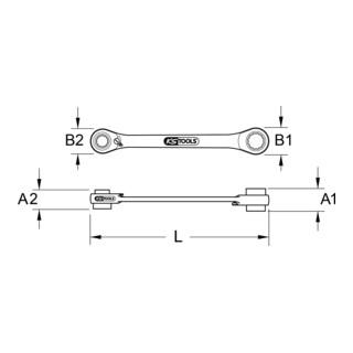 KS Tools GEARplus Mini-Bit-Umschalt-Ratschenringschlüssel, Zoll