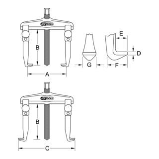 KS Tools Hydraulischer Schnellspann-Universal-Abzieher 2-armig mit verlängerten Haken, 110-520mm, 225mm