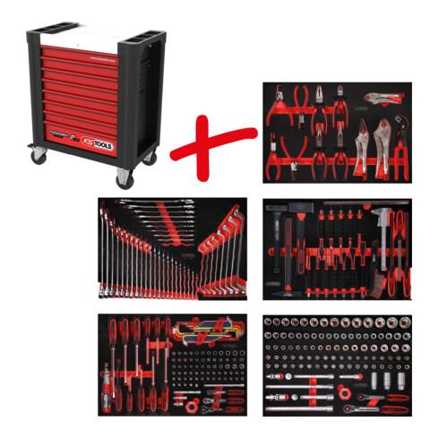 KS Tools Performanceplus Werkstattwagen-Satz P10 mit 279 Werkzeugen für 5 Schubladen