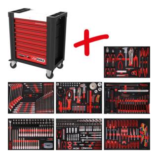 KS Tools Performanceplus Werkstattwagen-Satz P10 mit 397 Werkzeugen für 7 Schubladen