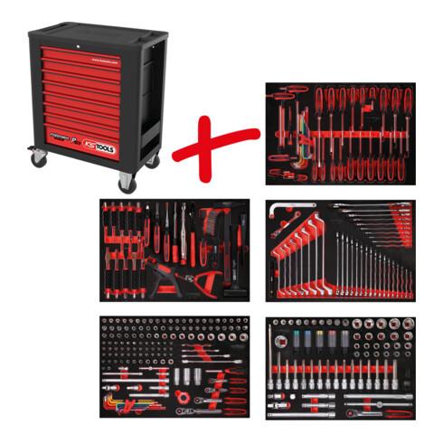 KS Tools Performanceplus Werkstattwagen-Satz P15 mit 299 Werkzeugen für 5 Schubladen