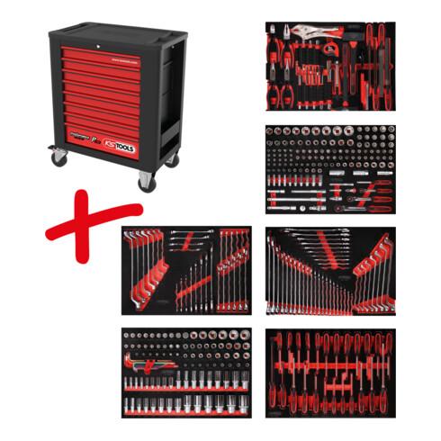 KS Tools Performanceplus Werkstattwagen-Satz P15 mit 366 Werkzeugen für 6 Schubladen
